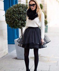 Mini tutu krilo za ženske v črni barvi.