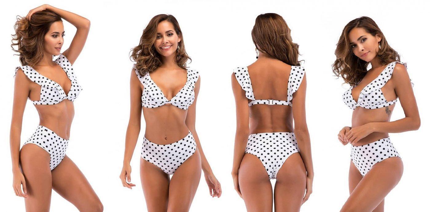 Bele dvodelne bikini kopalke Natali