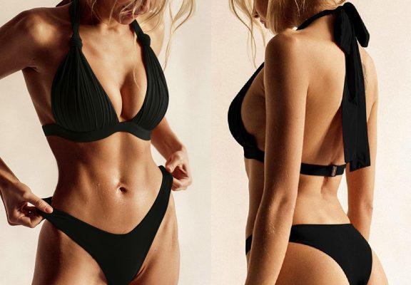 Črne dvodelne bikini kopalke na zavezovanje