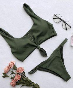 Zelene bikini kopalke z nastavljivimi hlačkami