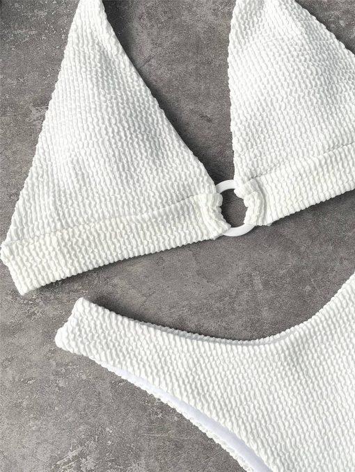 Bele dvodelne bikini kopalke na zavezovanje