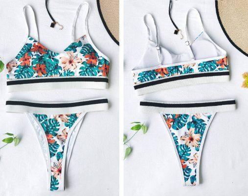 bele ženske kopalke s cvetličnim potiskom