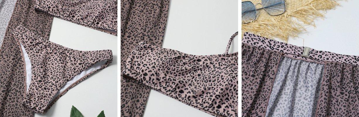 Dvodelne leopardje kopalke z ogrinjalom