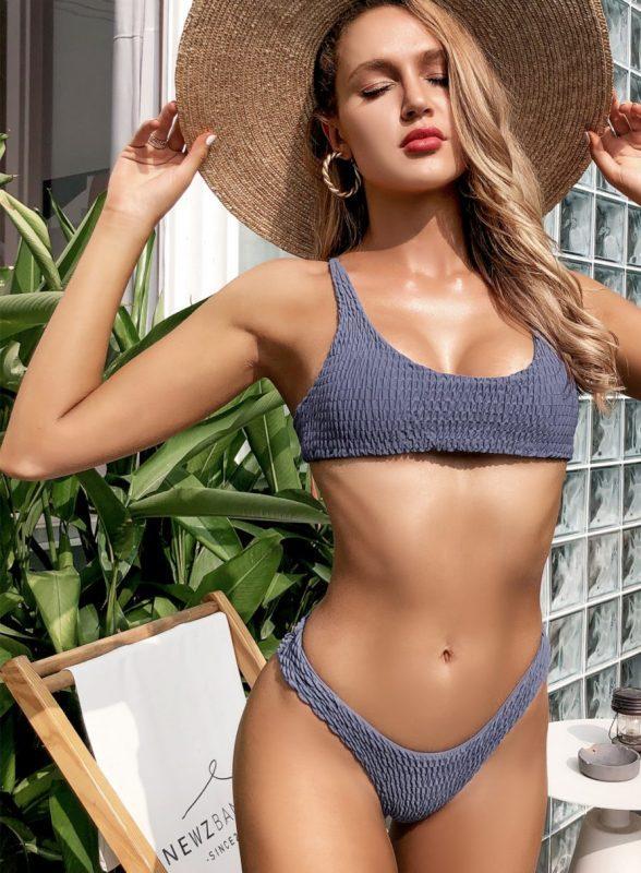 Kovinsko modre dvodelne bikini kopalke