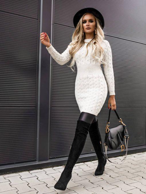 bela pletena obleka Abby