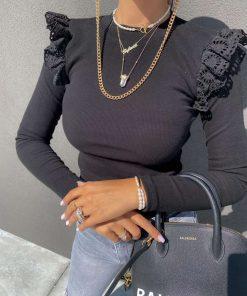 črna majica z volančki Nia