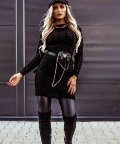 črna pletena obleka Abby